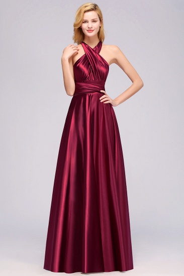 Chic Burgundy Chiffon Long Bridesmaid Dresses With One Shoulder_37