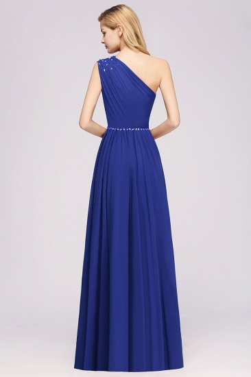 Modest One-shoulder Royal Blue Affordable Bridesmaid Dress with Beadings_52