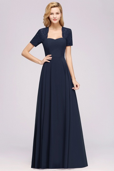 BMbridal Dark Navy Open-Back Long Bridesmaid Dress With Short Sleeves_28