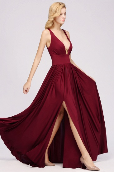 Sexy Deep V-Neck Sleeveless Bridesmaid Dress Burgundy Chiffon Wedding Party Dress_33