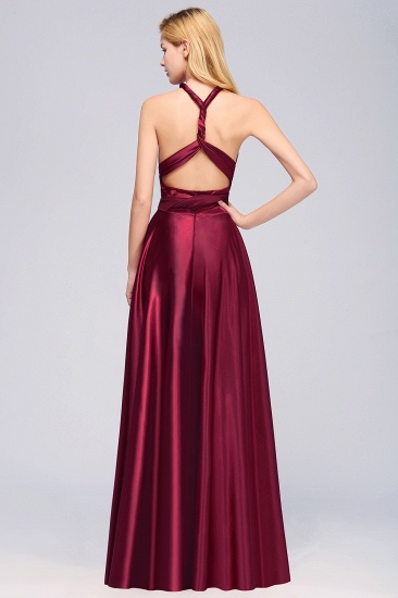 Chic Burgundy Chiffon Long Bridesmaid Dresses With One Shoulder_38