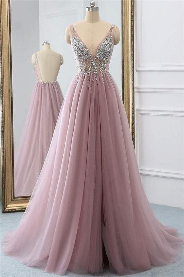 BMbridal Elegant V-Neck Sleeve Prom Dress Long Tulle With Crystal_1