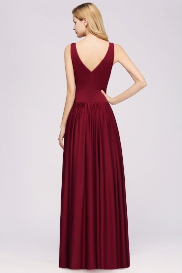 Sexy Deep V-Neck Sleeveless Bridesmaid Dress Burgundy Chiffon Wedding Party Dress_32