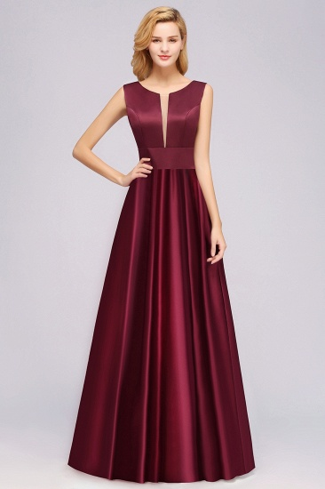 Vintage Deep-V-Neck Long Burgundy Bridesmaid Dress Online_1