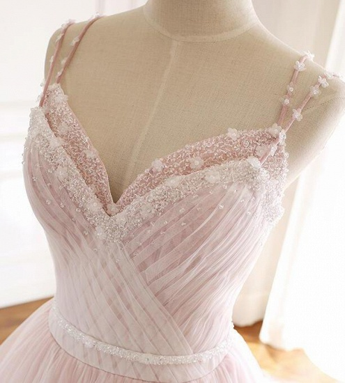 Princess Sweetheart Lace Pink Prom Dress Long Tulle Party Gowns_13