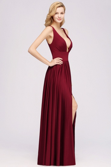 Sexy Deep V-Neck Sleeveless Bridesmaid Dress Burgundy Chiffon Wedding Party Dress_37