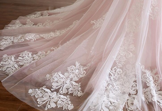 Princess Sweetheart Lace Pink Prom Dress Long Tulle Party Gowns_6