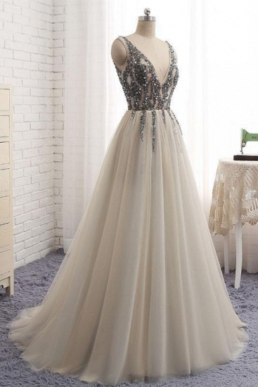 BMbridal Elegant V-Neck Sleeveless Prom Dress With Appliques Long Tulle Evening Gowns_5
