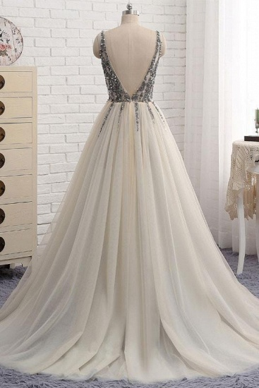 BMbridal Elegant V-Neck Sleeveless Prom Dress With Appliques Long Tulle Evening Gowns_4