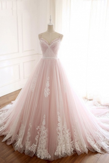 Princess Sweetheart Lace Pink Prom Dress Long Tulle Party Gowns_14