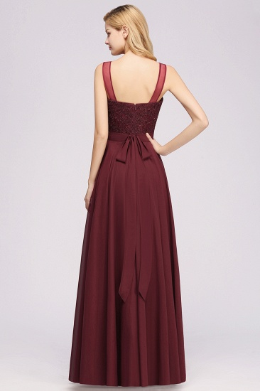 BMbridal Gorgeous Lace Jewel Affordable Pink Bridesmaid Dress with Beadings_9