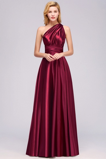 Chic Burgundy Chiffon Long Bridesmaid Dresses With One Shoulder_35