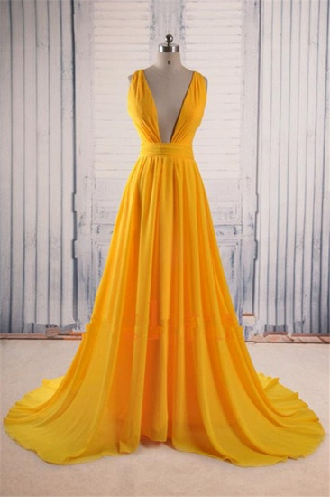 Sexy Deep V-Neck Yellow Prom Dress Long Chiffon Sleeveless Party Gowns_1
