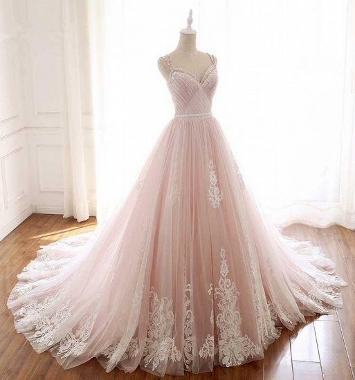 Princess Sweetheart Lace Pink Prom Dress Long Tulle Party Gowns_5