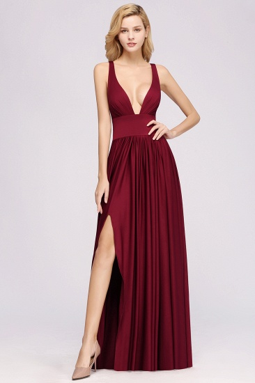 Sexy Deep V-Neck Sleeveless Bridesmaid Dress Burgundy Chiffon Wedding Party Dress_31