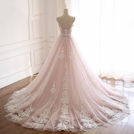 Princess Sweetheart Lace Pink Prom Dress Long Tulle Party Gowns_4
