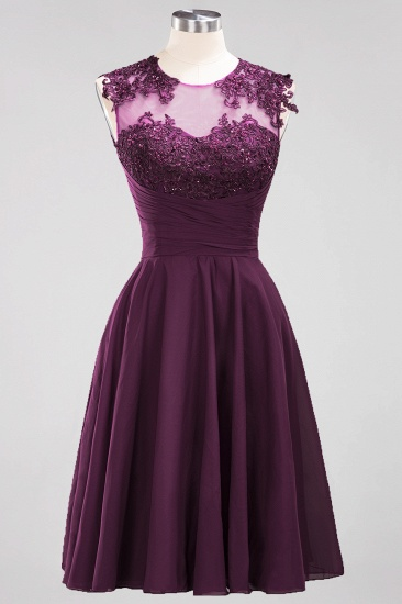 Cute Chiffon Round Neck Short Burgundy Bridesmaid Dresses with Appliques_20