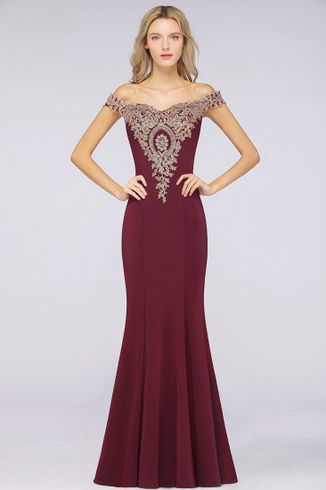 Elegant Off-the-Shoulder Mermaid Prom Dress Long With Lace Appliques