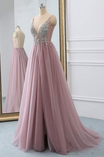 BMbridal Elegant V-Neck Sleeve Prom Dress Long Tulle With Crystal_4