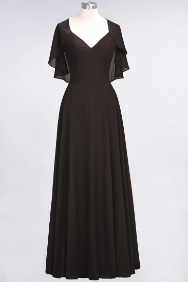 Chic Satin V-Neck Long Burgundy Chiffon Bridesmaid Dress with Flutter Sleeve_11