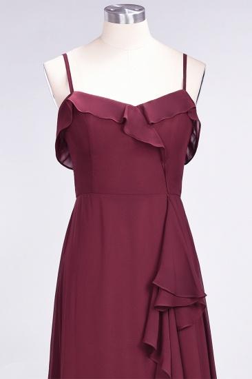 Elegant Spaghetti Straps Ruffle Burgundy Chiffon Dresses Affordable_62