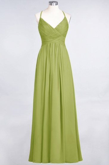 Affordable Chiffon Ruffle V-Neck Bridesmaid Dress with Spaghetti Straps_32