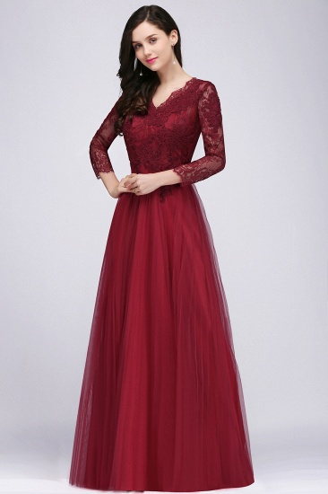 Affordable Long Sleeves V-Neck Lace Burgundy Bridesmaid Dresses with Appliques_4