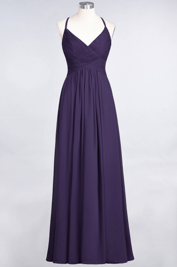 Affordable Chiffon Ruffle V-Neck Bridesmaid Dress with Spaghetti Straps_18