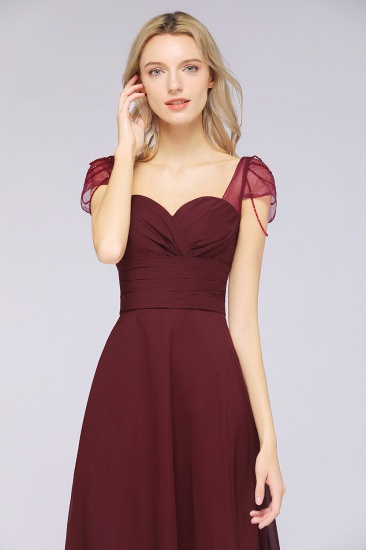 Chic Chiffon Sweetheart Cap-Sleeves Ruffle Bridesmaid Dresses with Beadings_55