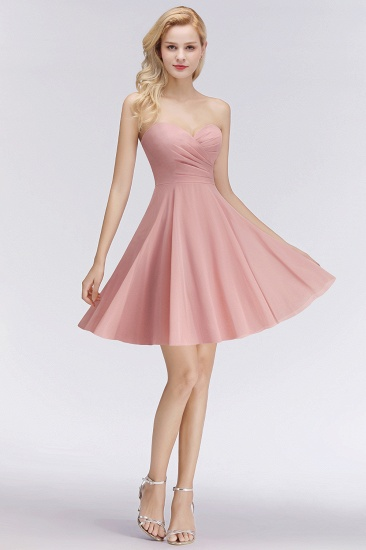 Lovely Sweetheart ruffle Pink Chiffon Short Bridesmaid Dresses Affordable_5