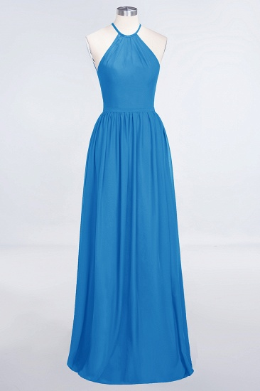 BMbridal Affordable Halter Sleeveless Long Burgundy Bridesmaid Dress with Ruffle_25