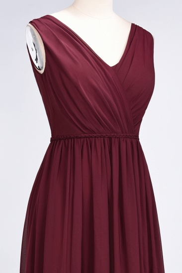 Glamorous TulleV-Neck Ruffle Burgundy Bridesmaid Dress Online_64