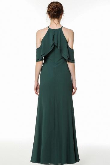 BMbridal Affordable Cold-shoulder Ruffle Dark Green Bridesmaid Dresses Online_3