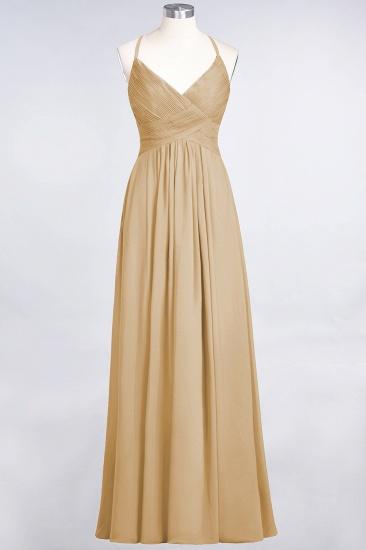 Affordable Chiffon Ruffle V-Neck Bridesmaid Dress with Spaghetti Straps_13