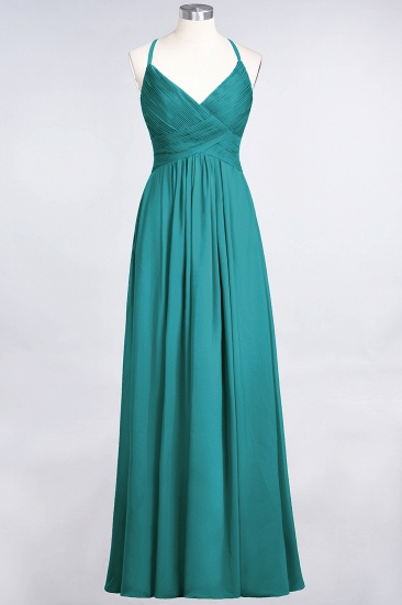 Affordable Chiffon Ruffle V-Neck Bridesmaid Dress with Spaghetti Straps_31
