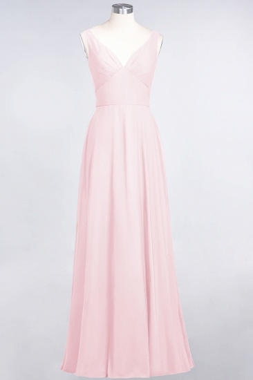 Chic Chiffon V-Neck Straps Ruffle Affordable Bridesmaid Dresses with Open Back_3