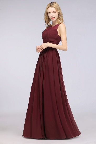 Modest Chiffon Lace Scoop Ruffle Burgundy Bridesmaid Dresses Affordable_4