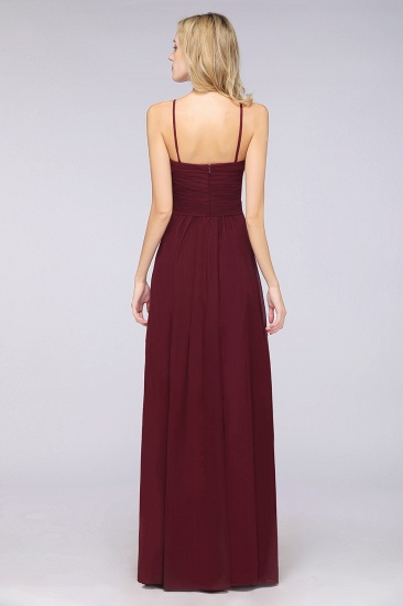 Chic Burgundy Sweetheart Long Bridesmaid Dress With Spaghetti-Straps_3