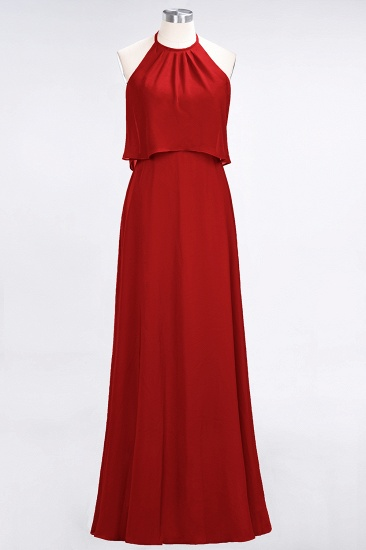 Gorgeous Chiffon Flounced Crinkle Sheath Long Burgundy Bridesmaid Dresses_8