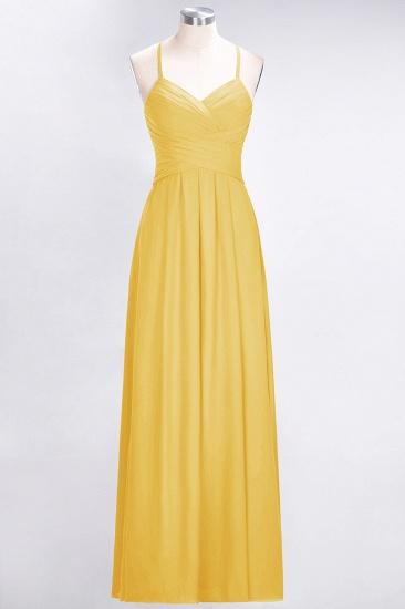 Affordable Spaghetti Straps V-Neck Burgundy Chiffon Bridesmaid Dress with Keyhole Back_17