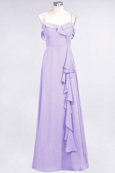 Elegant Spaghetti Straps Ruffle Burgundy Chiffon Dresses Affordable_21