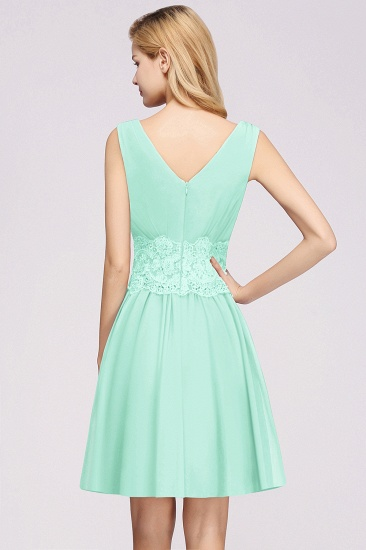 Pretty V-Neck Short Sleeveless Lace Bridesmaid Dresses Online_52