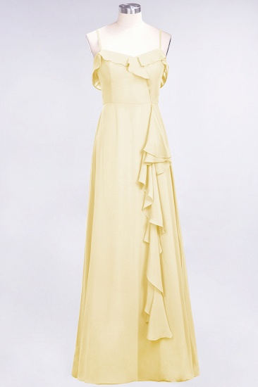 Elegant Spaghetti Straps Ruffle Burgundy Chiffon Dresses Affordable_18