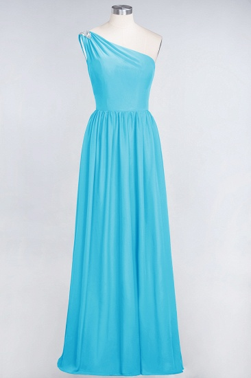 Affordable Chiffon One-Shoulder Ruffle Bridesmaid Dress with Beadings_24