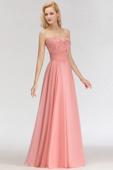 Elegant Sweetheart Ruffle Pink Bridesmaid Dresses with Appliques_5