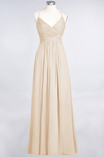 Affordable Chiffon Ruffle V-Neck Bridesmaid Dress with Spaghetti Straps_14