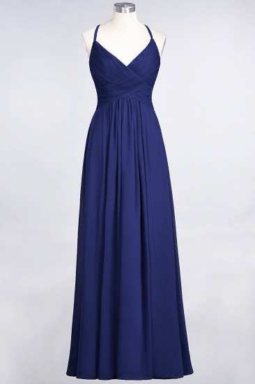 Affordable Chiffon Ruffle V-Neck Bridesmaid Dress with Spaghetti Straps_25