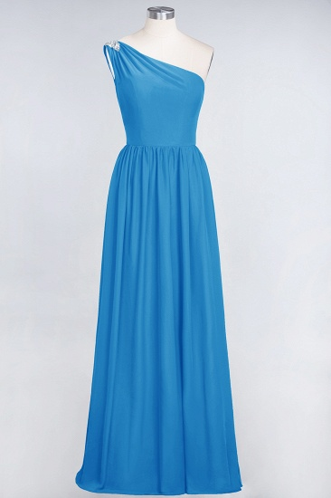 Affordable Chiffon One-Shoulder Ruffle Bridesmaid Dress with Beadings_25