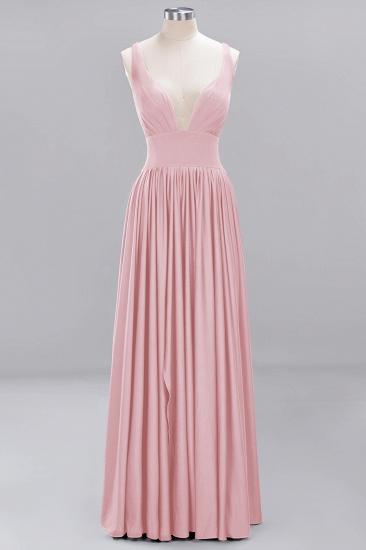 Sexy Deep V-Neck Sleeveless Bridesmaid Dress Burgundy Chiffon Wedding Party Dress_4