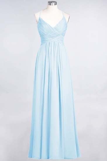 Affordable Chiffon Ruffle V-Neck Bridesmaid Dress with Spaghetti Straps_22